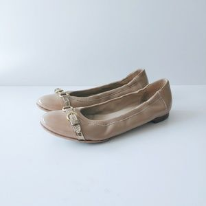 AGL Toe Cap Leather Ballet Nude Flats 38